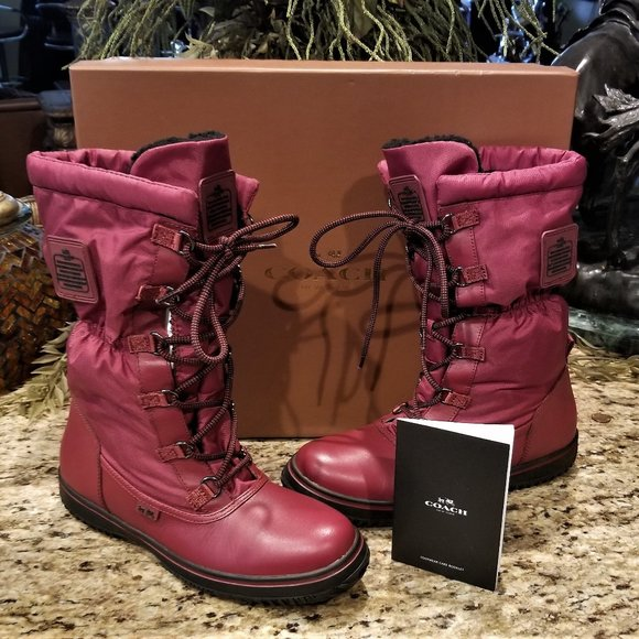 New COACH Sage BLACK CHERRY Lace Up Cold Weather Hiking Snow Boots Sz 9.5